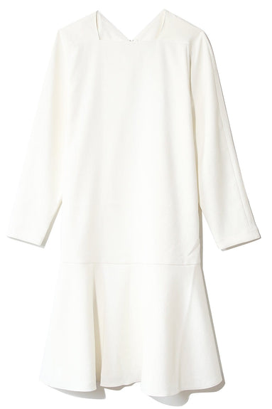 Chalky Drape Square Neck Dress in Ivory