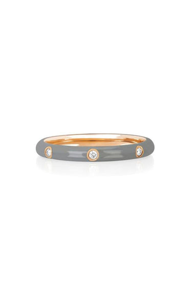 3 Diamond Light Grey Enamel Stack Ring in Rose Gold