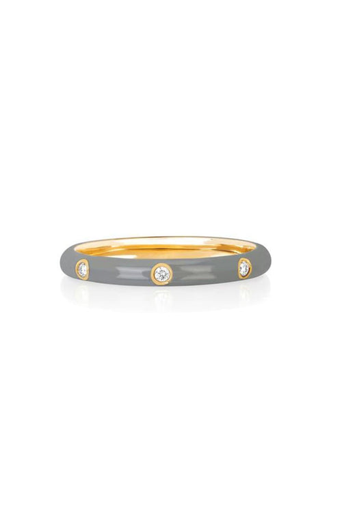 3 Diamond Light Grey Enamel Stack Ring in Yellow Gold