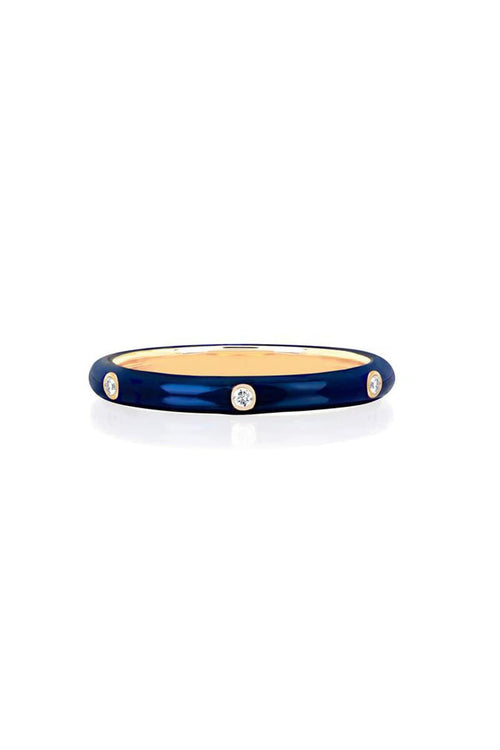 3 Diamond Navy Enamel Stack Ring in Yellow Gold