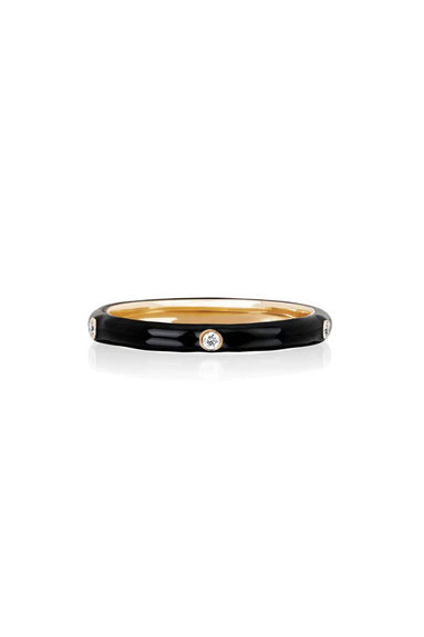 5 Diamond Black Enamel Stack Ring in Rose Gold