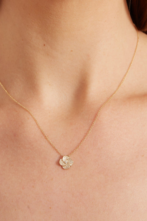 Diamond Jumbo Petal Necklace in Yellow Gold