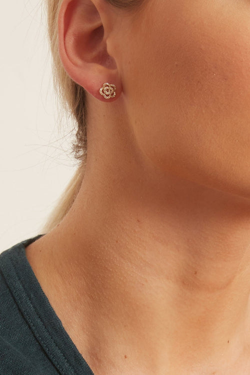 Diamond Rose Stud Earring in Rose Gold