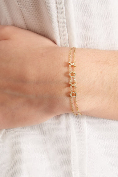 Diamond XOXO Bracelet in Yellow Gold