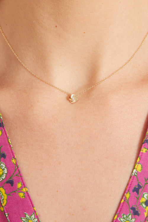 Gold and Diamond Petal Necklace in Yellow Gold