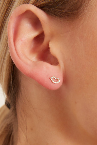 Single Diamond Kiss Stud Earring in Yellow Gold