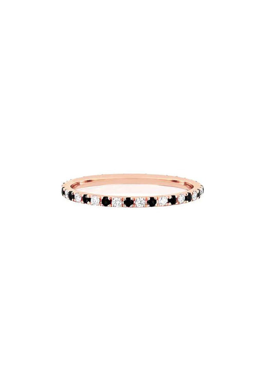 Diamond and Black Diamond Dot Eternity Band in Rose Gold