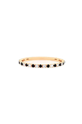 Diamond and Black Diamond Dot Eternity Band in Yellow Gold