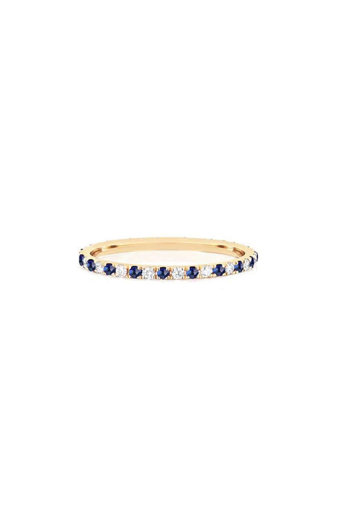 Diamond and Blue Sapphire Dot Eternity Band in Yellow Gold