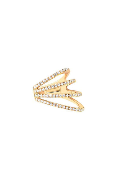 Diamond Cage Ear Cuff in Yellow Gold Left Lobe (No Piercing)