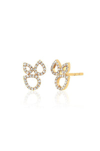 Diamond Open Teardrop Cluster Stud Earring in Yellow Gold