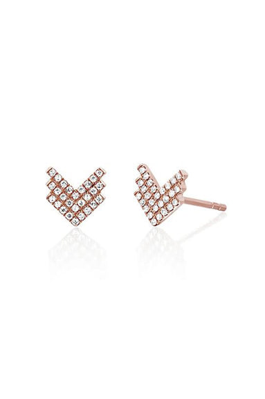 Diamond Shield Stud Earring in Rose Gold