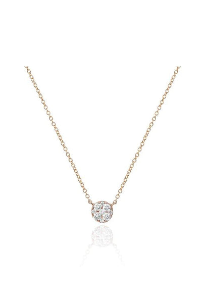 Full Cut Diamond Disc Choker Necklace in Rose Gold