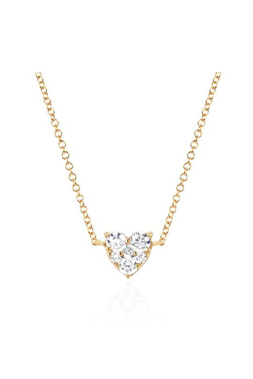 Full Cut Diamond Heart Choker Necklace in Yellow Gold