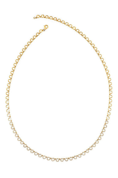 Half Diamond Open Circle Eternity Necklace in Yellow Gold