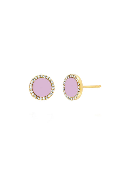 Diamond and Light Pink Enamel Disc Stud Earring in Yellow Gold