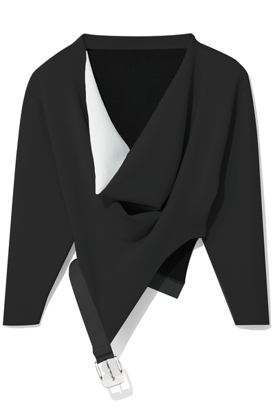Cowl Neck Top with Attached Belt in Black/White