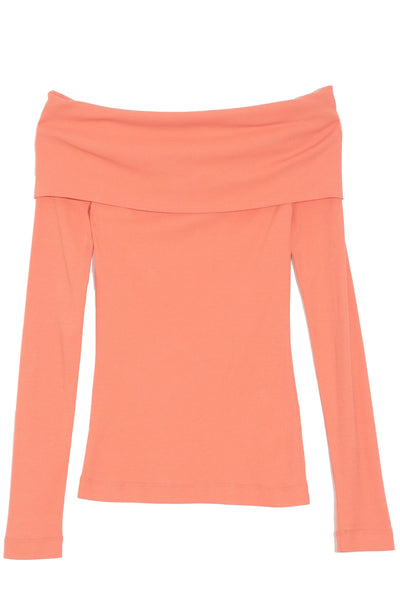 Banded Off Shoulder Top in Coral