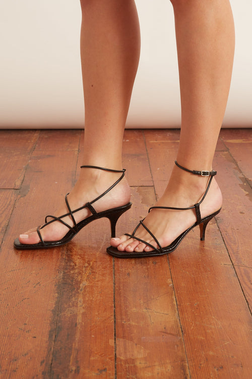 Tobias Sandal in Black Snakeprint