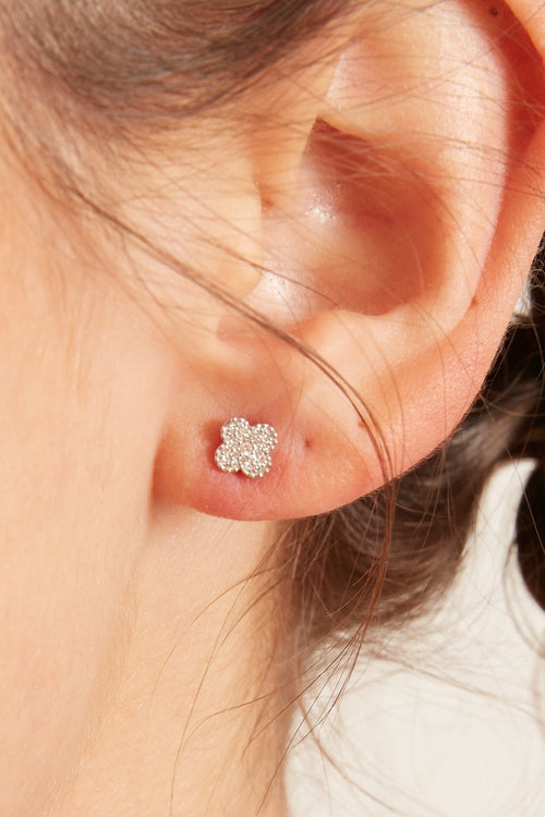 Lucky Clover Pave Diamond Earrings in White Gold