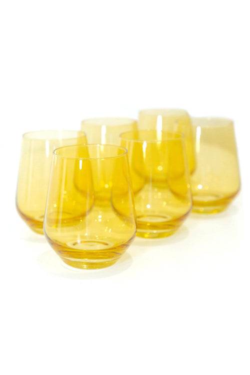 Colored Stemless Wine Glasses in Yellow - Set of 6
