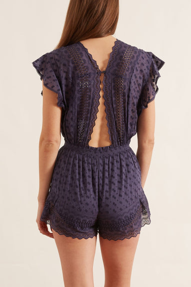Tadeo Embroidered Playsuit in Faded Night