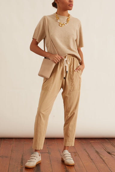 Double Jersey Contrast Tapered Pant in Nutmeg