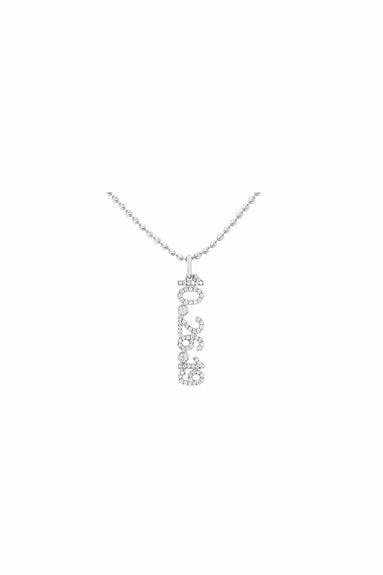 "Diamond Custom Date Charm Necklace with 20-22"" Chain in White Gold"