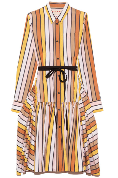 Belted Stripe Flounce Dress in Maize