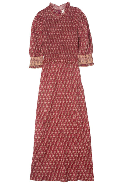 Beaux Smocked Dress in Brick