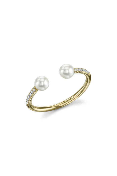 Double Pearl and Pave Ring in Yellow Gold