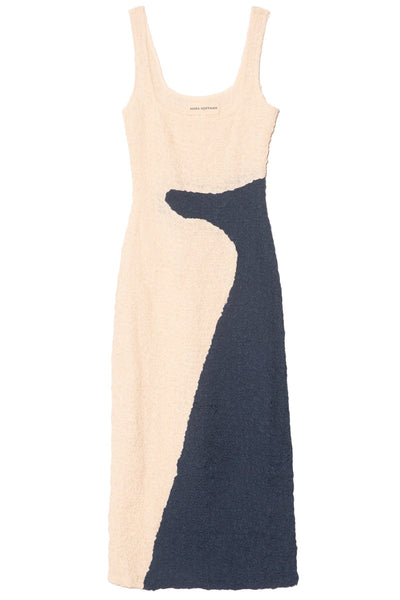 Sloan Dress in Cream/Navy