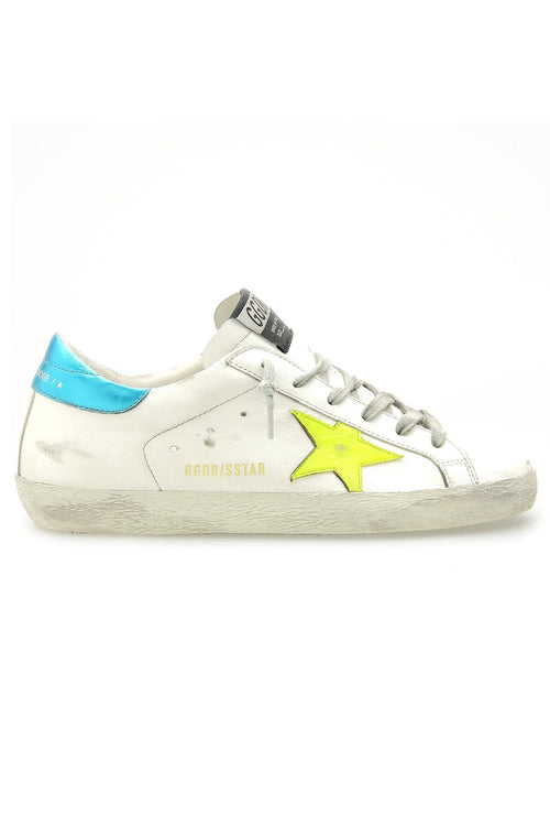 Superstar Sneaker in White/Yellow Fluro/Turquoise