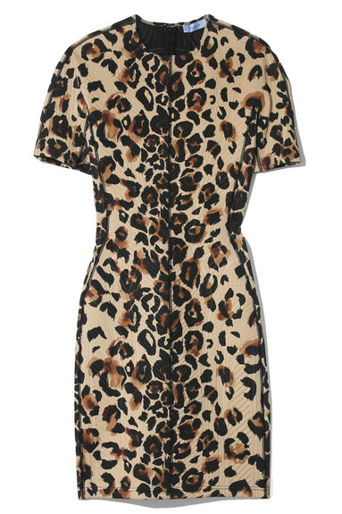 Multicolor Panel Dress in Natural Leopard
