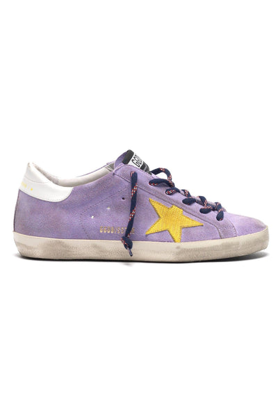 Superstar Sneakers in Lavender Suede/Yellow Lizard Star