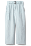 Washed Cotton Belted Pant in Seal Grey