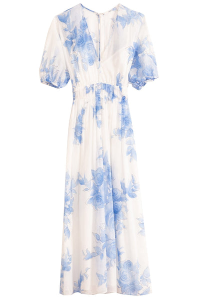 Blouson Dress in Cornflower Blue