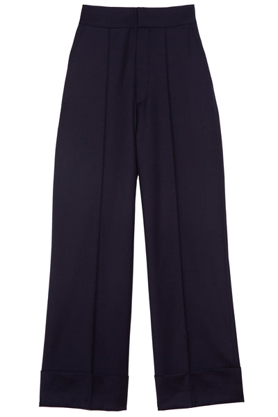 Wide Leg Cuffed Trouser in Navy