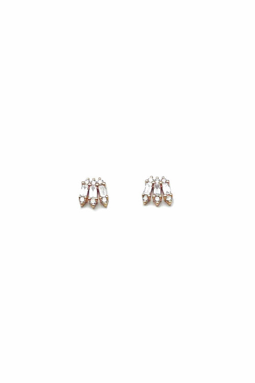 Baguette Small Wing Earrings in Rose Gold