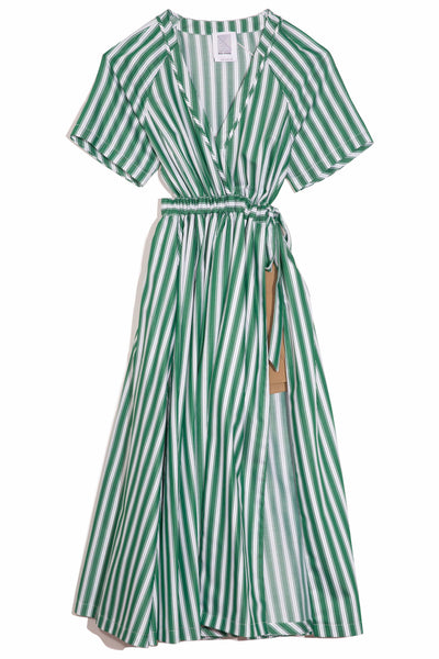 Wrap Jump Skort Dress in Green Stripe
