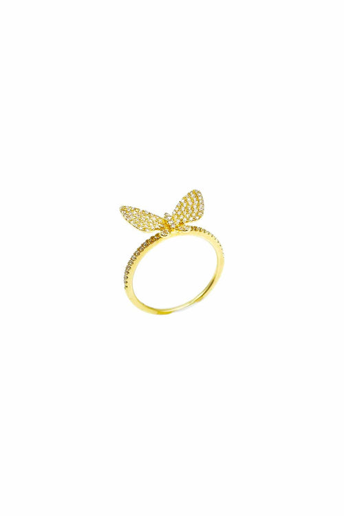 Pave Diamond Butterfly Ring in Yellow Gold
