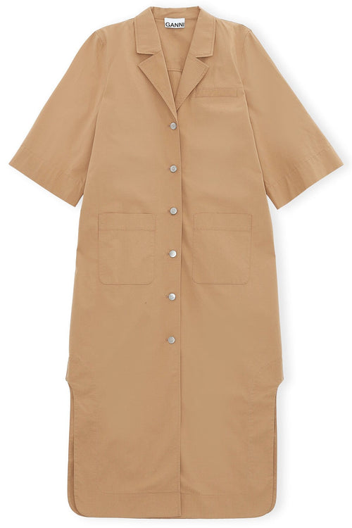 Ripstop Cotton Chino Shirt Dress in Tannin