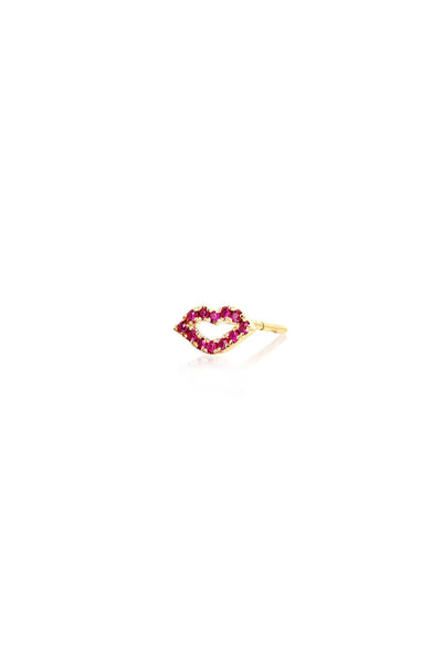 Single Ruby Kiss Stud Earring in Yellow Gold