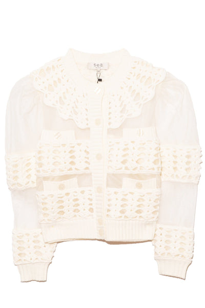 Cleo Crochet Long Sleeve Cardigan in White
