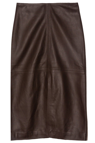Lambskin Slit Front Skirt in Brown