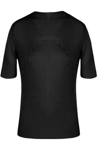 Diamond Stitch Short Sleeve Knit in Black