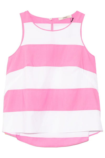 A-Line Striped Top in Pastel Pink