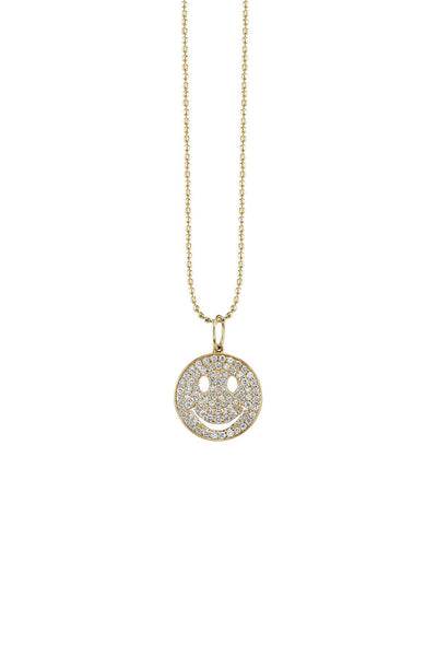 Pave Happy Face Charm Necklace in Yellow Gold