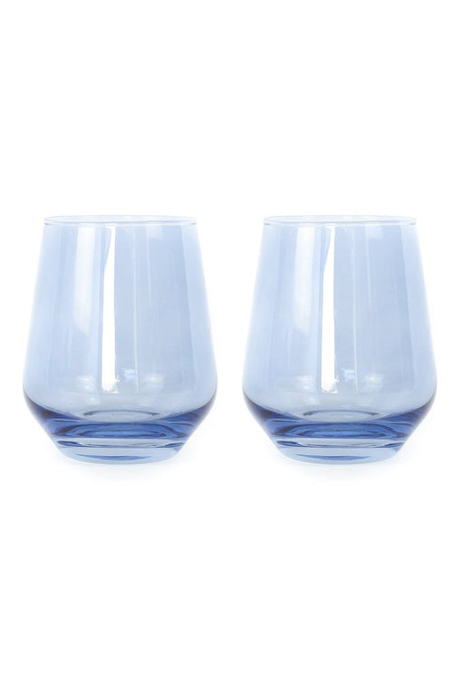 Colored Stemless Wine Glasses in Cobalt Blue - Set of 2