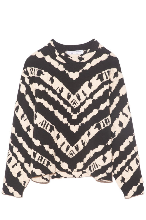 Animal Jacquard Cropped Pullover in Black/Ecru